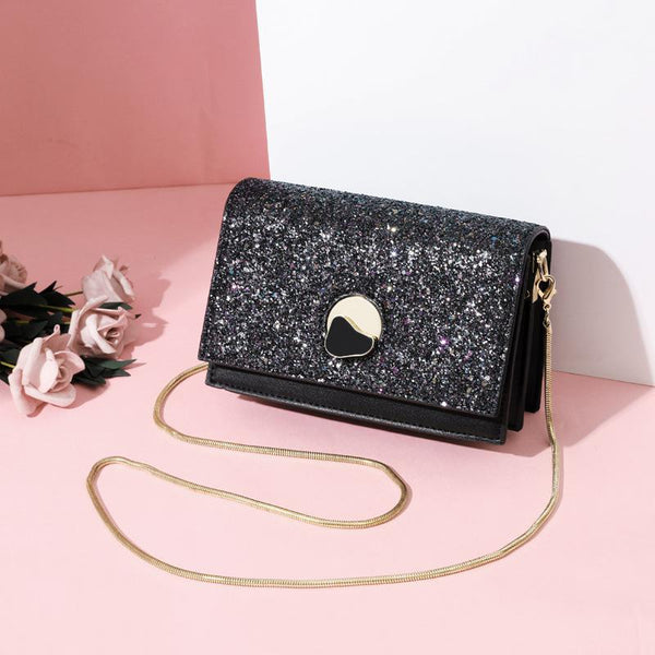 Trendinggate.com black New summer messenger bag fashion sequin chain small square bag Korean fairy western style messenger bag a generation of hair