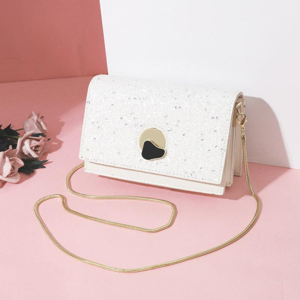 Trendinggate.com White New summer messenger bag fashion sequin chain small square bag Korean fairy western style messenger bag a generation of hair