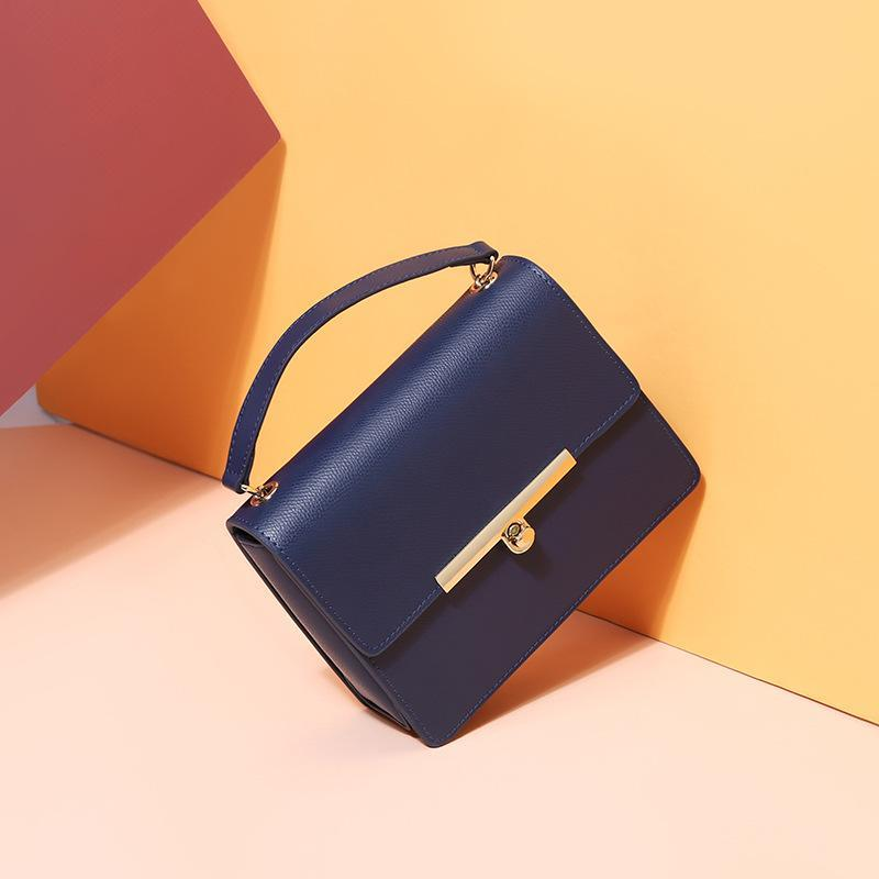 Trendinggate.com Navy Blue One Shoulder Messenger Bag 2019 new Korean summer chain women's bag fashionable and versatile small square bag factory