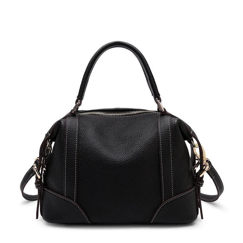 Trendinggate.com black Original new leather women's bag fashion top layer Kraft handbag leisure soft leather shell bag 1112