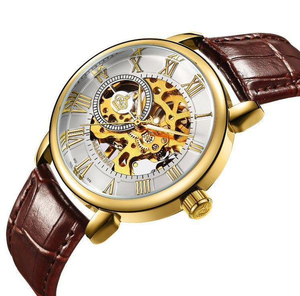 Trendinggate.com Men's Watches Brown belt gold shell ORKINA leather band for a cool vintage look