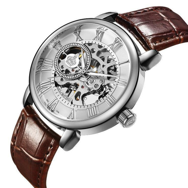 Trendinggate.com Men's Watches Brown belt silver shell ORKINA leather band for a cool vintage look