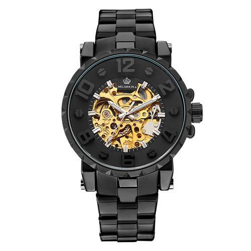 Trendinggate.com Men's Watches Black Belt, Black Circle, Gold Face ORKINA mechanical movement makes the hands turn smoothly