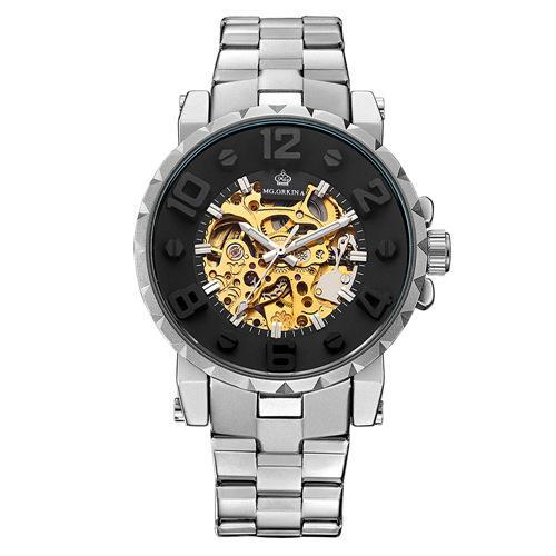 Trendinggate.com Men's Watches Silver black ring gold face ORKINA mechanical movement makes the hands turn smoothly