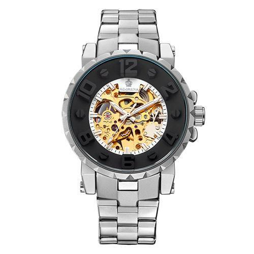 Trendinggate.com Men's Watches Silver white ring gold noodle ORKINA mechanical movement makes the hands turn smoothly