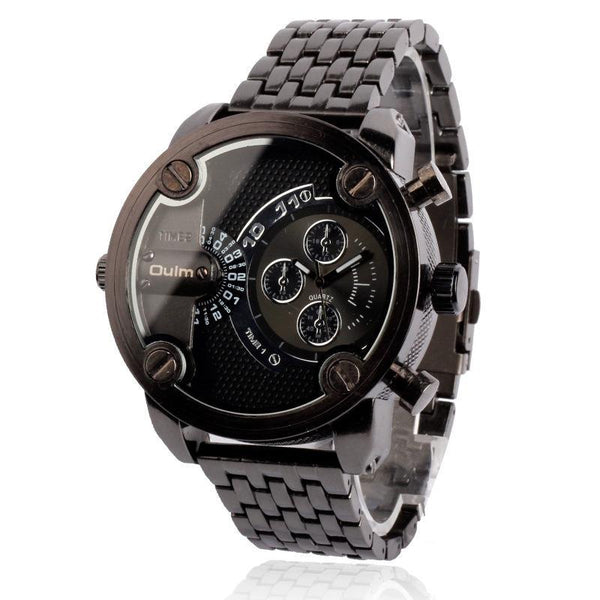 Trendinggate.com black oulmBrand Watch Wholesale/Men's steel band business multi time zone watch manufacturers direct supply ht3130