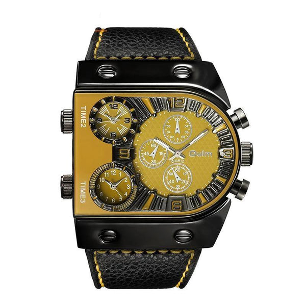 Trendinggate.com Yellow OulmCross-border watch European and American large-scale men's quartz watch manufacturers multi-time regional table fashion men's skin belt