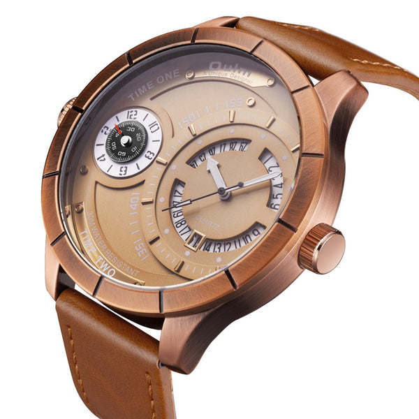 Trendinggate.com OulmEuropean and European calendar water-proof quartz watch men's casual watch, European and American big dial watch 2019 new style