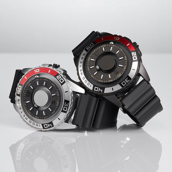 Trendinggate.com 【Parallel time and space】Magnetic Black Technology Watch Male Trend Creative Ball Student Personality New Concept Female Quartz Watch
