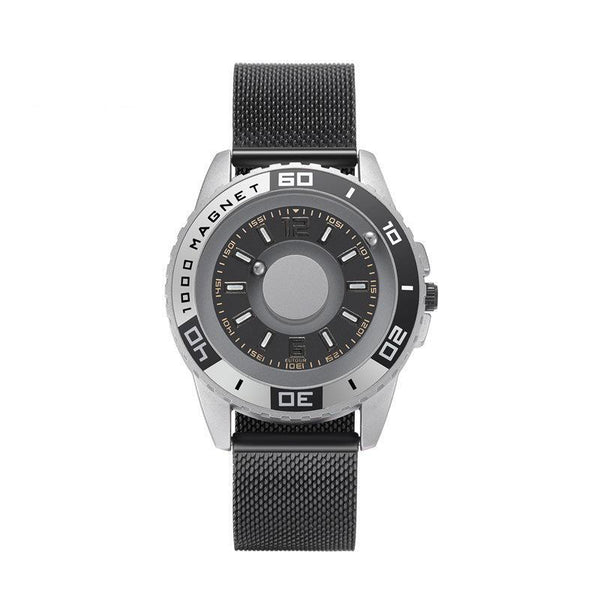 Trendinggate.com Silver Black 【Parallel time and space】Magnetic Black Technology Watch Male Trend Creative Ball Student Personality New Concept Female Quartz Watch
