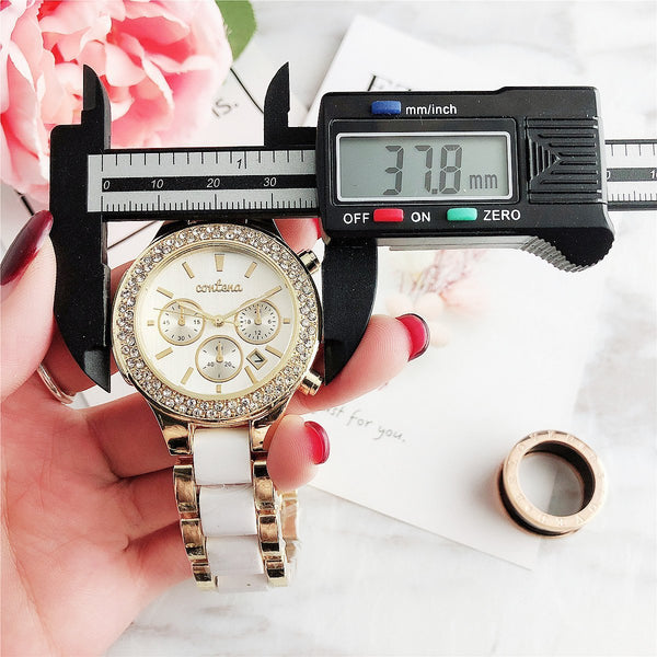 Trendinggate.com Popular foreign trade style European and American fashion simple diamond belt calendar false three dial watches women 2019