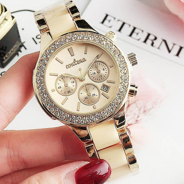 Trendinggate.com Beige Popular foreign trade style European and American fashion simple diamond belt calendar false three dial watches women 2019