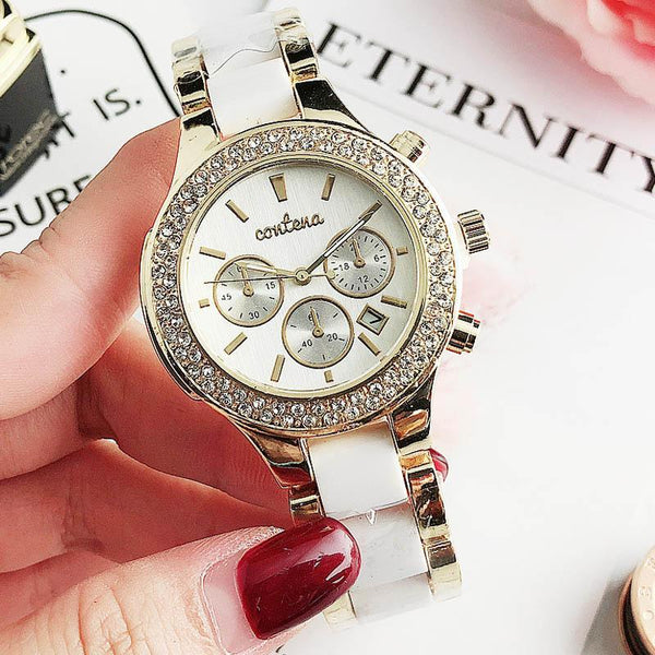 Trendinggate.com Beige white Popular foreign trade style European and American fashion simple diamond belt calendar false three dial watches women 2019