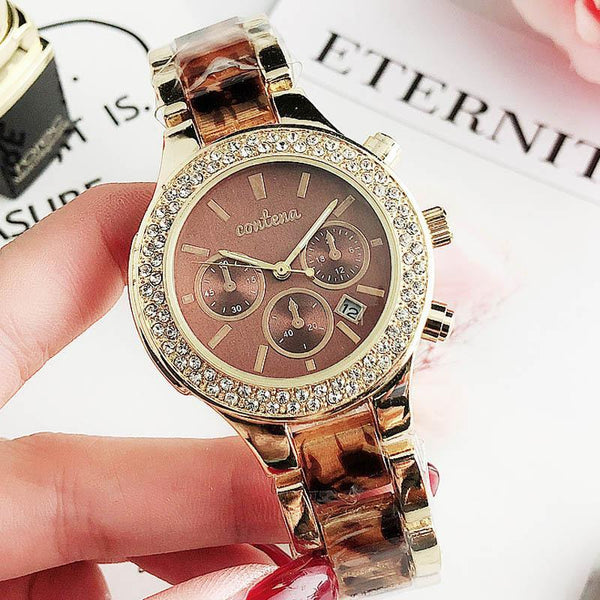 Trendinggate.com Brown Popular foreign trade style European and American fashion simple diamond belt calendar false three dial watches women 2019