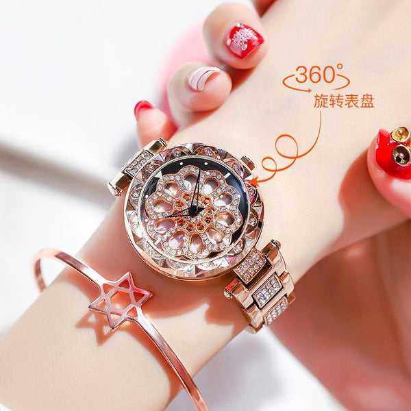 Trendinggate.com Floral rose gold steel belt Popular style Yilu Road when you come to run watch women Douyin same network celebrity quartz women watch foreign trade source