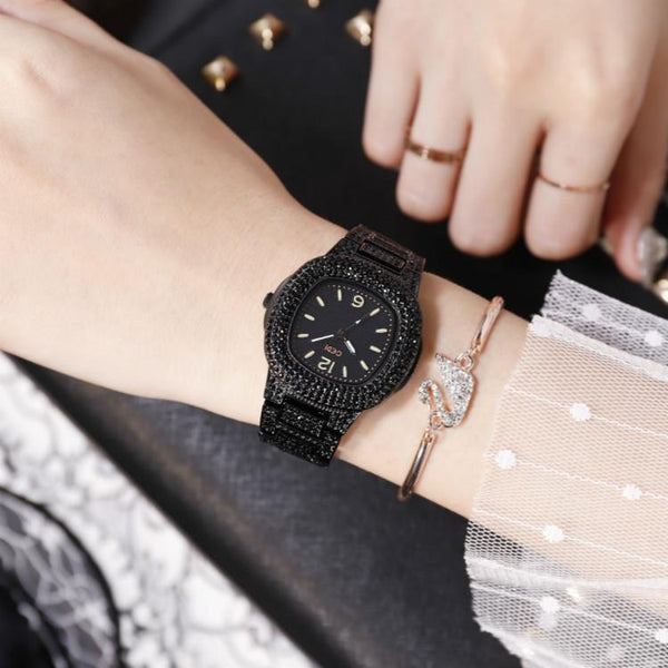Trendinggate.com Black belt black bottom Quick-sell Winter GEDI Tremble Watch Quartz Watch Tide Fashion Watch with Full Drill Waterproof Ladies Watch