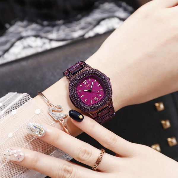 Trendinggate.com Purple with purple bottom Quick-sell Winter GEDI Tremble Watch Quartz Watch Tide Fashion Watch with Full Drill Waterproof Ladies Watch