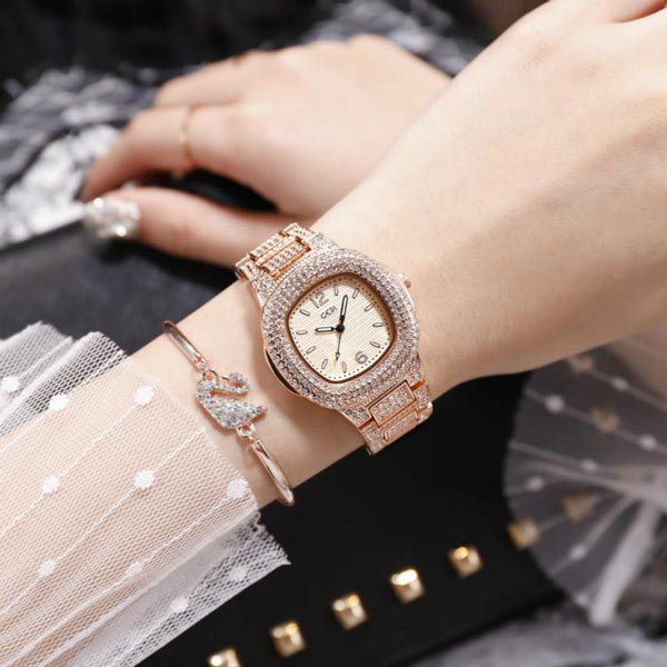 Trendinggate.com Rose gold belt rose bottom Quick-sell Winter GEDI Tremble Watch Quartz Watch Tide Fashion Watch with Full Drill Waterproof Ladies Watch