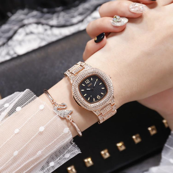 Trendinggate.com Rose gold belt with black background Quick-sell Winter GEDI Tremble Watch Quartz Watch Tide Fashion Watch with Full Drill Waterproof Ladies Watch
