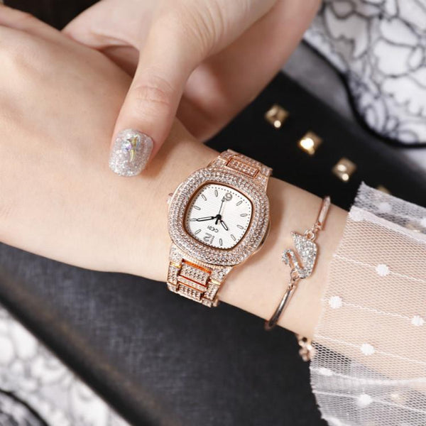 Trendinggate.com Rose gold belt with white background Quick-sell Winter GEDI Tremble Watch Quartz Watch Tide Fashion Watch with Full Drill Waterproof Ladies Watch