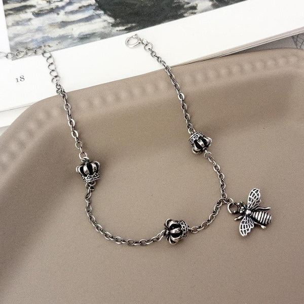 Trendinggate.com Retro to make old Thai silver crown bracelet s925 pure silver hand decoration cartoon little bee bracelet female cross-border accessories (L129L_Marcasite bracelet 925silver)