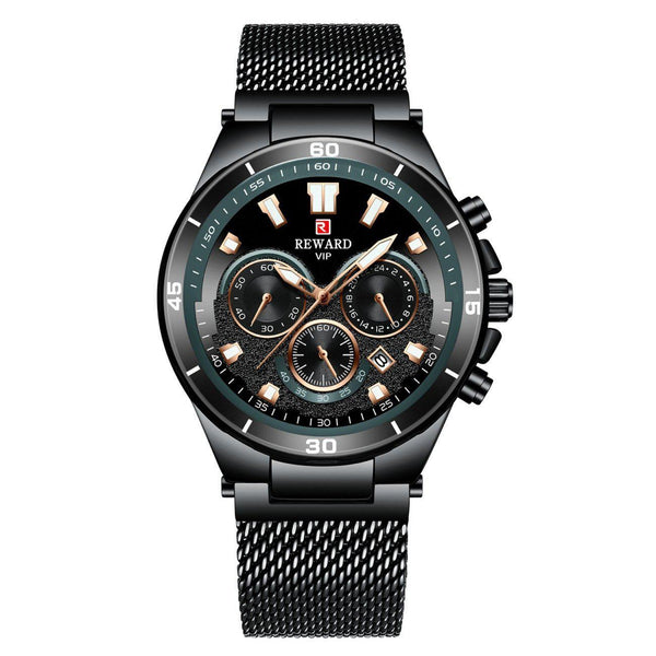 Trendinggate.com Men's Watches Black shell, black face, black belt REWARD a hook clasp, which adds a subtle finishing touch