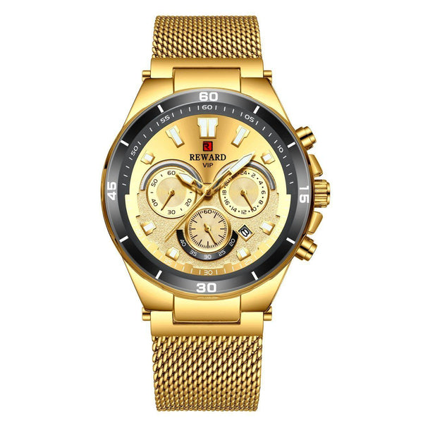 Trendinggate.com Men's Watches Gold shell, gold face, gold belt REWARD a hook clasp, which adds a subtle finishing touch