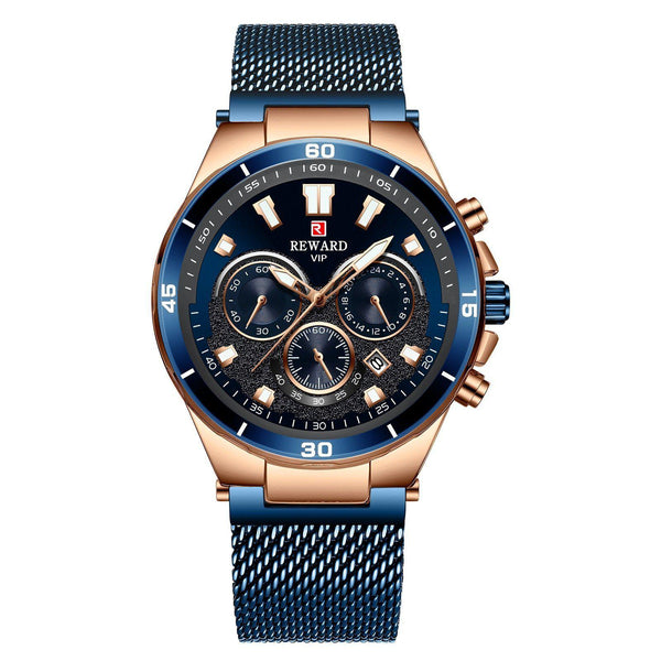 Trendinggate.com Men's Watches Rose shell blue face blue belt REWARD a hook clasp, which adds a subtle finishing touch
