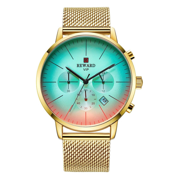 Trendinggate.com Men's Watches Gold shell, gold face, gold belt REWARD elegant casual watch