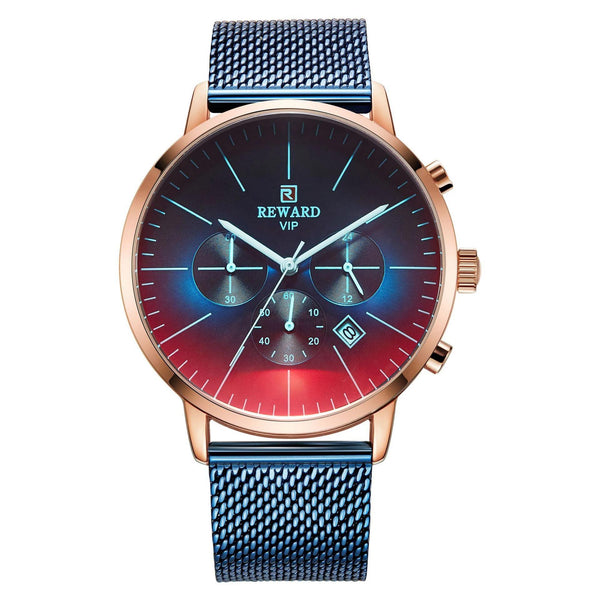 Trendinggate.com Men's Watches Rose shell blue face blue belt REWARD elegant casual watch