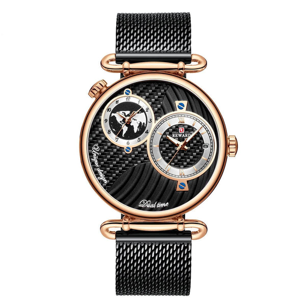 Trendinggate.com Men's Watches Black belt in rose shell REWARD multi dial stylish watch for formal events