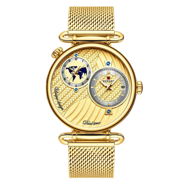 Trendinggate.com Men's Watches Gold shell, gold face, gold belt REWARD multi dial stylish watch for formal events