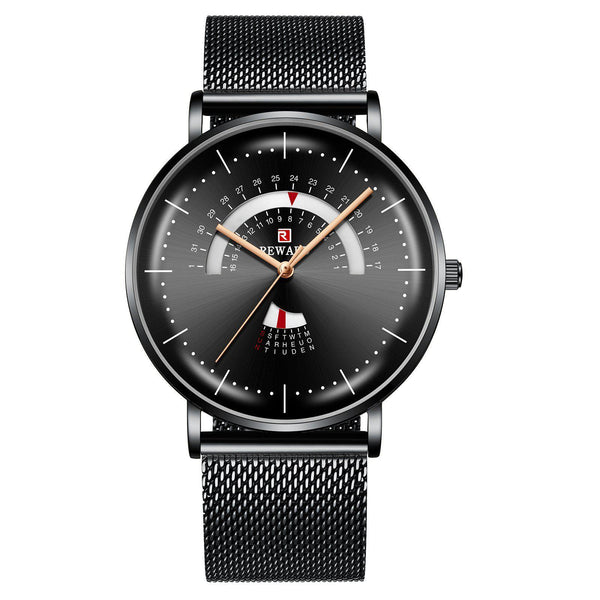 Trendinggate.com Men's Watches Black shell, black face, black belt REWARD precise movement thin watch elegant and classy for any occasion