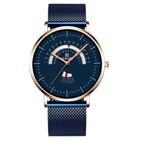 Trendinggate.com Men's Watches Rose shell blue face blue belt REWARD precise movement thin watch elegant and classy for any occasion