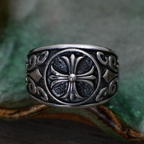 Trendinggate.com S925 Crusader Flower Seiko Thai Silver Single Men's Rings, Rings, Euro-American Style Silver Jewelry Wholesale
