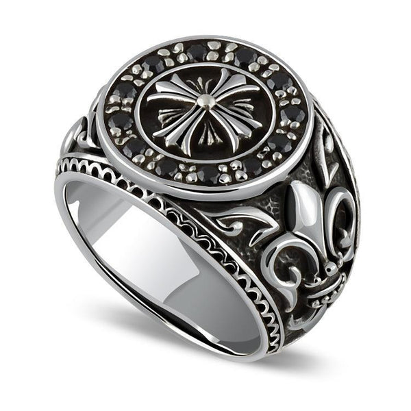 Trendinggate.com S925Sterling silver ring inlaid with artificial obsidian cross military silver ring men's and women's common hair
