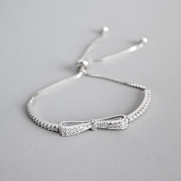 Trendinggate.com SA123Korean silver S925 sterling silver fashion student bow micro set with zircon adjustable Bead Bracelet (White Gold 925silver)