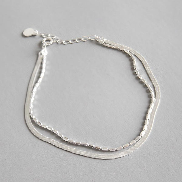 Trendinggate.com SA145 Korean version S 925 pure silver personality lady's hand chain double-layer silver hand chain student female silver ornaments. (silvery 925silve)