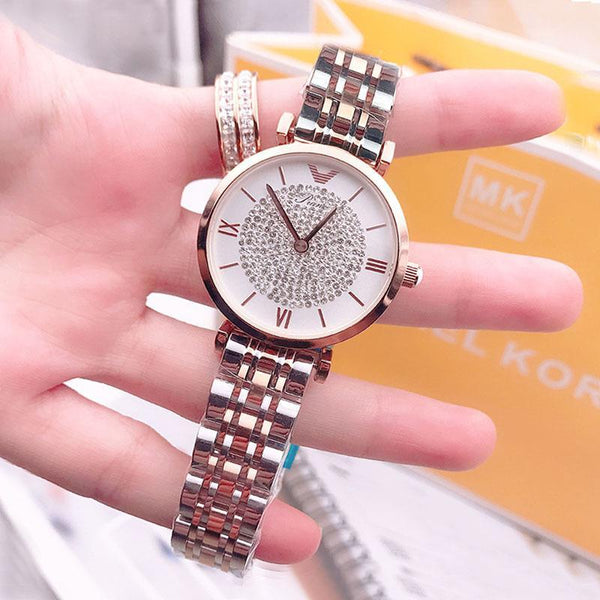 Trendinggate.com Shake the same net red 2018 new genuine ladies watch Korean baby's breath star steel band Shi Ying full diamond tide watch
