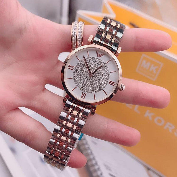 Trendinggate.com Rose Gold Shake the same net red 2018 new genuine ladies watch Korean baby's breath star steel band Shi Ying full diamond tide watch