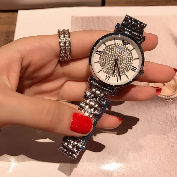 Trendinggate.com Silvery white Shake the same net red 2018 new genuine ladies watch Korean baby's breath star steel band Shi Ying full diamond tide watch