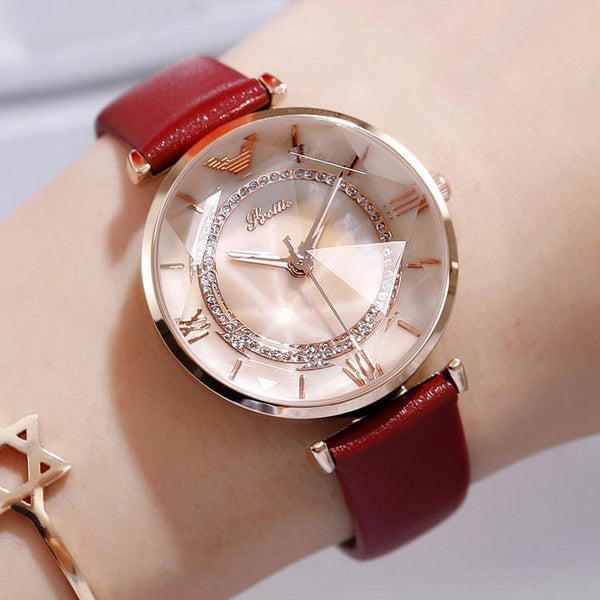 Trendinggate.com Rose Gold Shell Rose Gold Face Red Ribbon Shi Gaudi 2019 genuine new fashion trend women's watch leather watch with student watch female waterproof Korean version