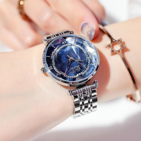 Trendinggate.com Shigaudi 2019 fashion trend Douyin the same waterproof atmosphere lady watch simple steel belt watch