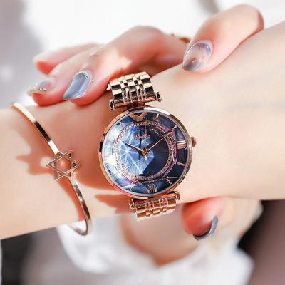 Trendinggate.com All Rose Golden Blue Face Shigaudi 2019 fashion trend Douyin the same waterproof atmosphere lady watch simple steel belt watch