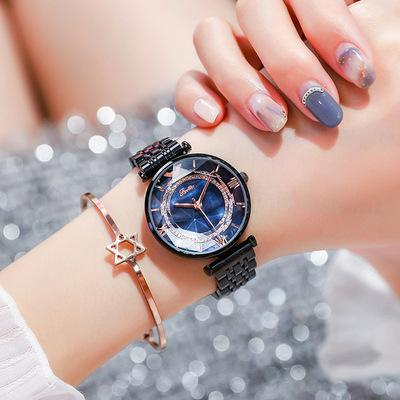 Trendinggate.com Black Shell Blue Face Shigaudi 2019 fashion trend Douyin the same waterproof atmosphere lady watch simple steel belt watch
