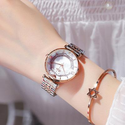 Trendinggate.com Golden white noodles with roses Shigaudi 2019 fashion trend Douyin the same waterproof atmosphere lady watch simple steel belt watch