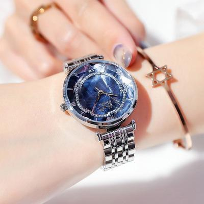 Trendinggate.com Silver shell blue face Shigaudi 2019 fashion trend Douyin the same waterproof atmosphere lady watch simple steel belt watch