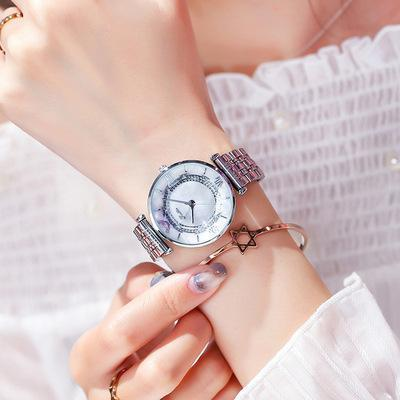 Trendinggate.com Silver Shell White Face Shigaudi 2019 fashion trend Douyin the same waterproof atmosphere lady watch simple steel belt watch