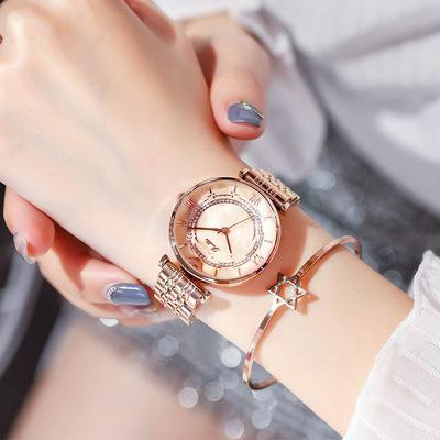 Trendinggate.com Whole Rose, Golden Rose, Golden Flour Shigaudi 2019 fashion trend Douyin the same waterproof atmosphere lady watch simple steel belt watch