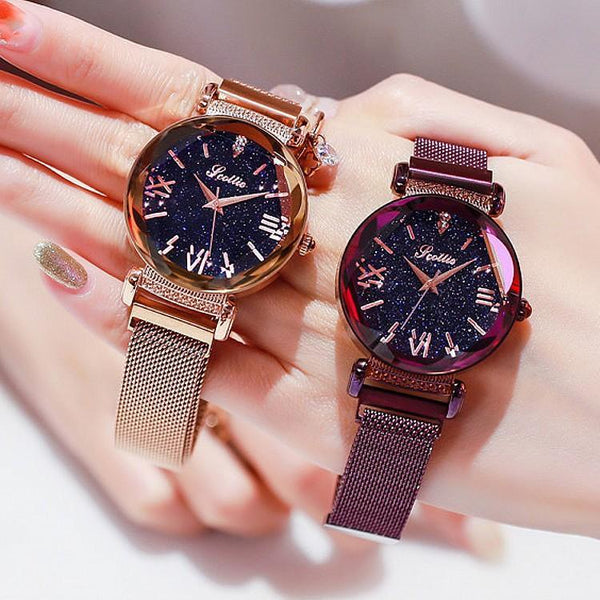 Trendinggate.com Shigaudi 2019 new ladies watch fashion trend starry sky red with Korean students waterproof Korean version